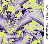 seamless pattern with tropical... | Shutterstock . vector #614337641