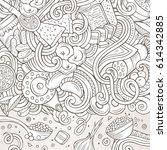 cartoon cute doodles hand drawn ... | Shutterstock .eps vector #614342885