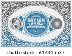 gin label with floral ornaments | Shutterstock .eps vector #614345537
