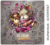 ice cream cartoon vector doodle ... | Shutterstock .eps vector #614345567