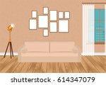mockup living room interior in... | Shutterstock .eps vector #614347079