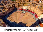 aerial view of siena  campo... | Shutterstock . vector #614351981