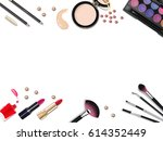 top view of various make up... | Shutterstock .eps vector #614352449