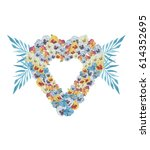 watercolor heart shaped floral... | Shutterstock . vector #614352695