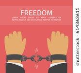 hands with broken chain. male... | Shutterstock .eps vector #614363615