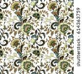 vintage flowers seamless... | Shutterstock .eps vector #614363759