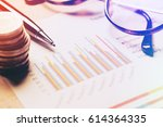 summary report and financial... | Shutterstock . vector #614364335