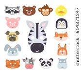 animals carnival mask vector... | Shutterstock .eps vector #614371247