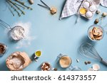 baking or cooking background... | Shutterstock . vector #614373557