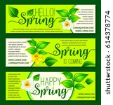 welcome spring vector greeting... | Shutterstock .eps vector #614378774