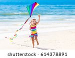 happy laughing little girl... | Shutterstock . vector #614378891