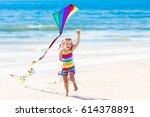 happy laughing little girl...   Shutterstock . vector #614378891