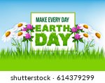 earth day floral cartoon poster.... | Shutterstock .eps vector #614379299