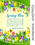 spring time greetings and... | Shutterstock .eps vector #614379521