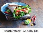 tortilla wrap or burrito with...   Shutterstock . vector #614382131