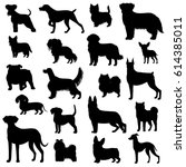 dog silhouette set | Shutterstock .eps vector #614385011