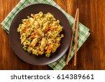fried rice nasi goreng with... | Shutterstock . vector #614389661