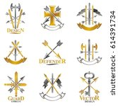 vintage weapon emblems set.... | Shutterstock .eps vector #614391734
