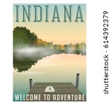 indiana travel poster or... | Shutterstock .eps vector #614392379
