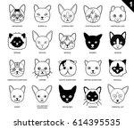 cat faces icon cartoon black... | Shutterstock .eps vector #614395535