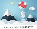 Paper art of dollar sign hanging with balloon, business and finance concept and paper art idea, vector art and illustration. | Shutterstock vector #614395595