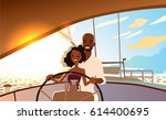 young beautiful couple in love... | Shutterstock .eps vector #614400695