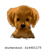 drawing brown puppy dog... | Shutterstock . vector #614401175