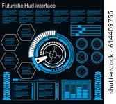 futuristic blue virtual graphic ... | Shutterstock .eps vector #614409755