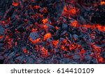 background of burning hot coals.... | Shutterstock . vector #614410109