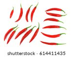 red hot chili pepper isolated... | Shutterstock . vector #614411435