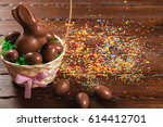 delicious chocolate easter... | Shutterstock . vector #614412701
