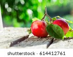 beautiful fresh red apples on... | Shutterstock . vector #614412761