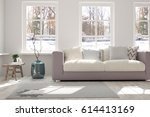 white room with sofa and winter ... | Shutterstock . vector #614413169