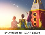 Children Playing Toy Rocket Dreaming - Fine Art prints