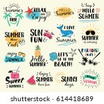 summer labels  logos  hand... | Shutterstock .eps vector #614418689