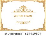 gold photo frame with corner... | Shutterstock .eps vector #614419574