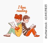 cute boy and girl reading books  | Shutterstock .eps vector #614419835