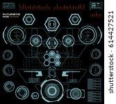 futuristic blue virtual graphic ... | Shutterstock .eps vector #614427521
