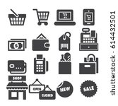 shopping icons  black edition  | Shutterstock .eps vector #614432501