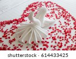 swans made from towels are... | Shutterstock . vector #614433425