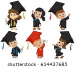 happy graduated kids.vector and ... | Shutterstock .eps vector #614437685
