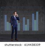 businessman with smartphone... | Shutterstock . vector #614438339