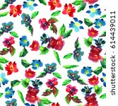 floral pattern small watercolor ... | Shutterstock . vector #614439011