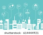 business icons with city... | Shutterstock .eps vector #614444921