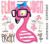 cute flamingo girl cartoon... | Shutterstock .eps vector #614445665