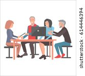 smiling people sitting at table ...   Shutterstock .eps vector #614446394