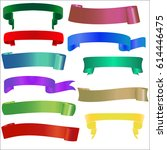 set ribbon banner. ribbon... | Shutterstock .eps vector #614446475