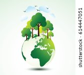 ecology concept with green eco... | Shutterstock .eps vector #614447051