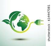 green eco power plug design... | Shutterstock .eps vector #614447081