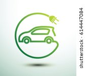 electric car concept green... | Shutterstock .eps vector #614447084